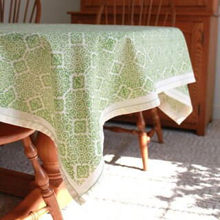 Handmade Lime Illusion 90 x 60 Tablecloth - Sustainable Threads (India)
