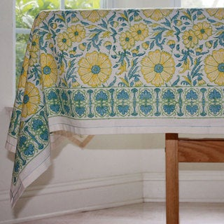 Handmade Yellow Floral Blockprint 60 x 60 Tablecloth - Sustainable Threads (India)