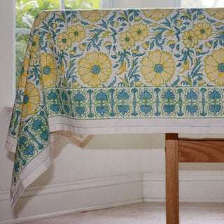 Handmade Yellow Floral Blockprint 90 x 60 Tablecloth - Sustainable Threads (India)