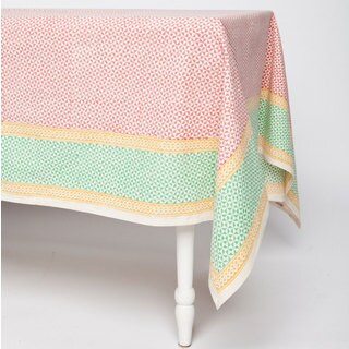Handmade Orange Geometric 90 x 60 Tablecloth - Sustainable Threads (India)