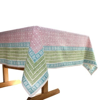 Handmade Red Floral 90 x 60 Tablecloth - Sustainable Threads (India)