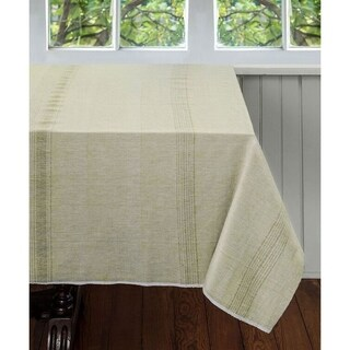 Handmade Pale Leaf 90 x 60 Tablecloth - Sustainable Threads (India)