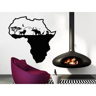 African Safari African Map Animals Housewares Sticker Decal size 22x26 Color Black