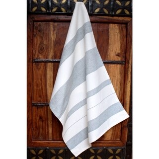 Handmade Grey Stripes Cotton Kitchen Towel - Sustainable Threads (India)