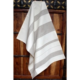Handmade Ash Stripes Cotton Kitchen Towel - Sustainable Threads (India)