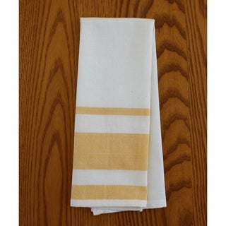 Handmade Set of Two Yellow Stripe Cotton Tea Towels - Sustainable Threads (India)