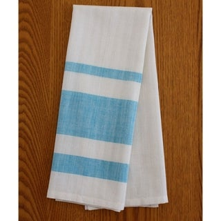 Handmade Set of Two Blue Stripe Cotton Tea Towels - Sustainable Threads (India)