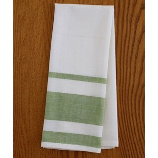 Set of Two Lime Stripe Cotton Tea Towels - Sustainable Threads (India)