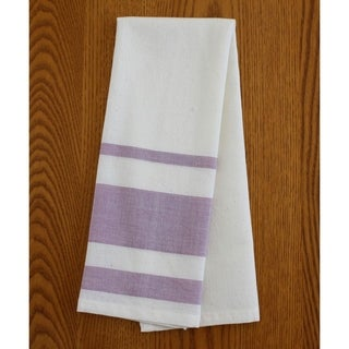 Handmade Set of Two Lavender Stripe Cotton Tea Towels - Sustainable Threads (India)