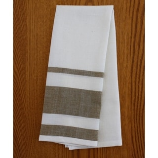 Set of Two Cocoa Stripe Cotton Tea Towels - Sustainable Threads (India)