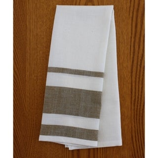 Handmade Set of Two Cocoa Stripe Cotton Tea Towels - Sustainable Threads (India)