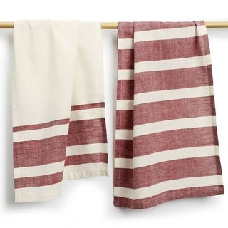 Set of Two Wine Stripe Cotton Tea Towels - Sustainable Threads (India)