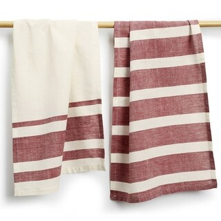 Handmade Set of Two Wine Stripe Cotton Tea Towels - Sustainable Threads (India)
