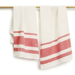 Handmade Set of Two Rose Stripe Cotton Tea Towels - Sustainable Threads (India)