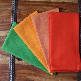 Handmade Set of Four Warm Palette Cotton Napkins - Sustainable Threads (India)
