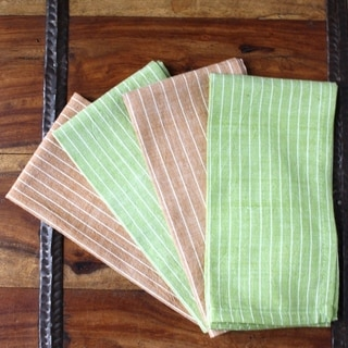 Handmade Set of Four Green and Caramel Cotton Napkins - Sustainable Threads (India)