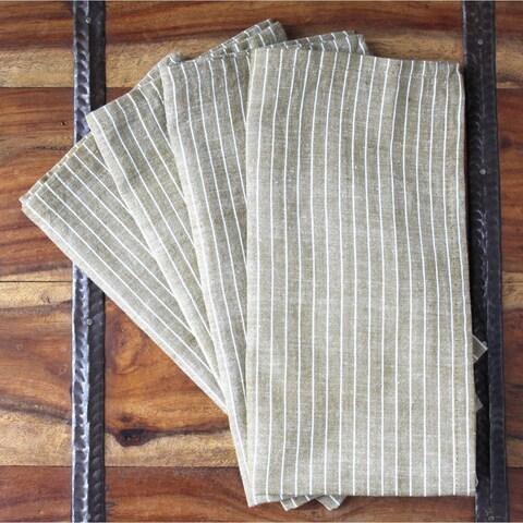 Handmade Set of Four Cocoa Stripe Cotton Napkins - Sustainable Threads (India)