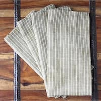 Set of Four Cocoa Stripe Cotton Napkins - Sustainable Threads (India)