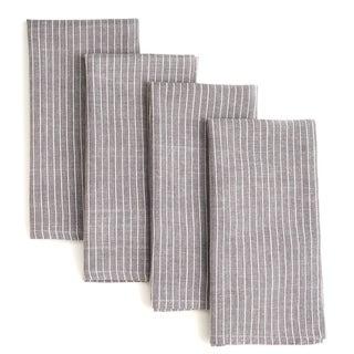 Handmade Set of Four Grey Stripe Cotton Napkins - Sustainable Threads (India)