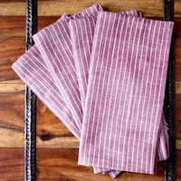 Handmade Set of Four Red Stripe Cotton Napkins - Sustainable Threads (India)