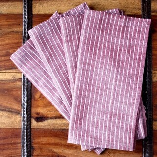 Handmade Set of Four Red Stripe Cotton Napkins - Sustainable Threads (India)
