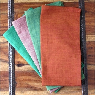 Handmade Set of Four Cool to Hot Cotton Napkins - Sustainable Threads (India)