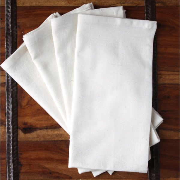 Handmade Set of Four Simply Cream Cotton Napkins - Sustainable Threads (India)