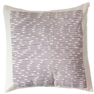 Handmade Cotton Purple Dashes 12x12 Pillow Cover - Sustainable Threads (India)