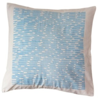 Handmade Cotton Blue Dashes 12x12 Pillow Cover - Sustainable Threads (India)