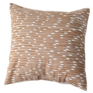 Handmade Cotton Copper Dashes 12x12 Pillow Cover - Sustainable Threads (India)