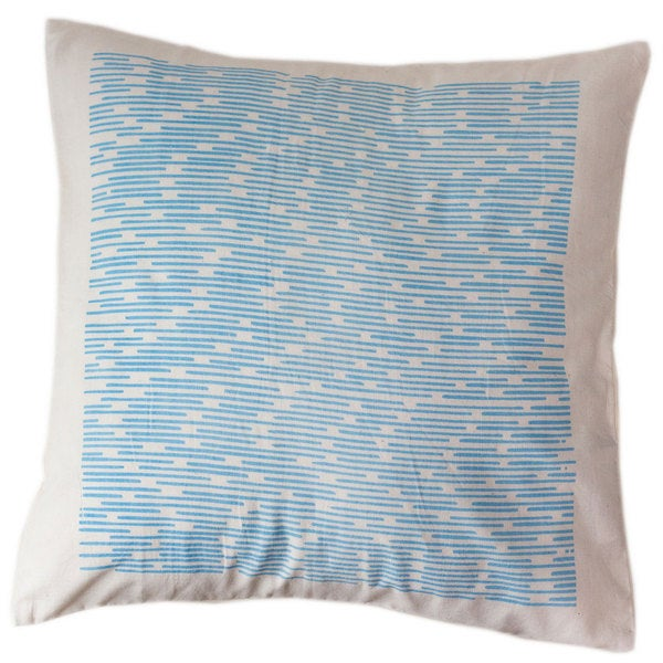 Handmade Cotton Blue Dashes 16x16 Pillow Cover - Sustainable Threads (India)
