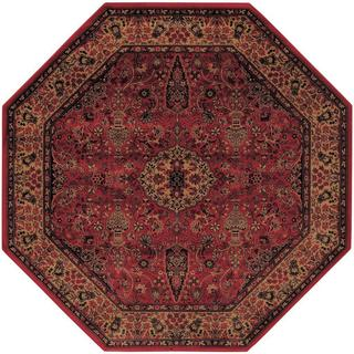 Power-Loomed Delta Linsey Crimson Ultra-Fine Polypropylene Rug (3'11 Octagon) (As Is Item)