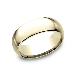 14k Yellow Gold Men's 8 mm Traditional Domed Profile Comfort Fit Wedding Band - 14K Yellow Gold (More options available)