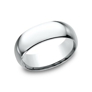 14k White Gold Men's 8 mm Traditional Domed Profile Comfort Fit Wedding Band