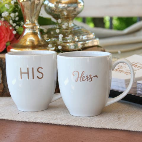 His and Hers White and Copper Ink Mugs (Set of 2)