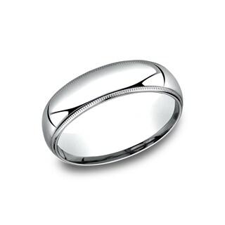 10k White Gold 6-millimeter Comfort-fit Milgrain Men's Wedding Band - 10K White Gold