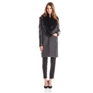 BCBGMAXAZRIA Women's Charcoal Gray Wool and Nylon Faux Fur Collar Coat