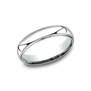 Men's 10k White Gold Comfort-fit Traditional Milgrain Wedding Band
