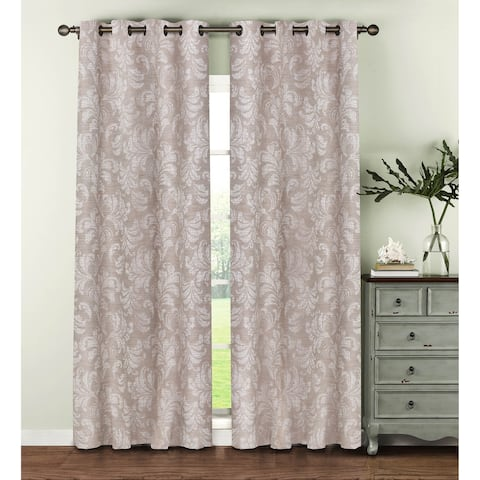 Window Elements Dover Beige Polyester and Linen 96-inch Jacquard Damask Curtain Panels (Set of 2)