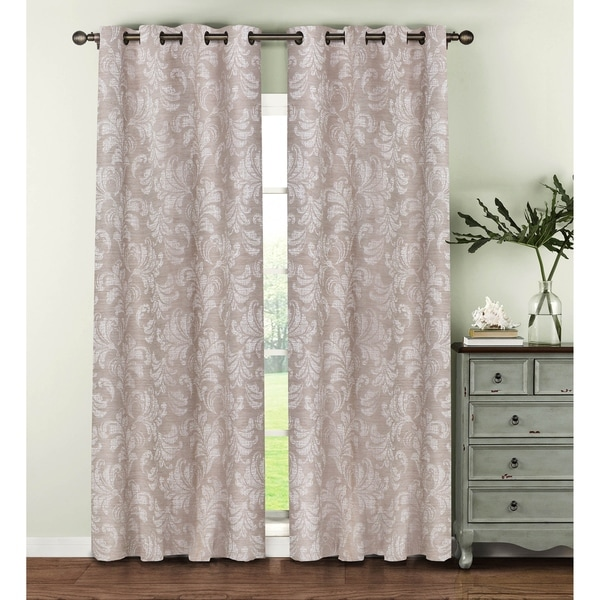 Window elements dover beige polyester and linen 96 inch for Beige damask curtains