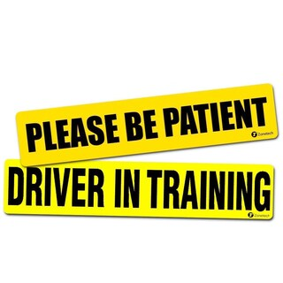 "Zone Tech 2-pack ""Driver in Training + Please Be Patient"" Reflective Vehicle Bumper Magnet"