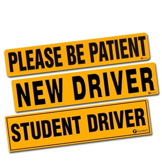 "Zone Tech Reflective 3-pack ""Reflective New Driver + Please Be Patient + Student Driver"" Magnets"