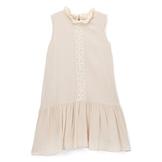 Spicy Mix Girls' Tessa Beige Rayon Crochet Tape Pleated Drop-waist Dress