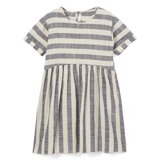 Spicy Mix Girls' Dalary Cotton Linen Striped Dress with Pockets