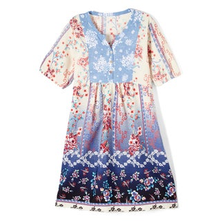 Spicy Mix Girl's Lilit Blue Floral Tunic Printed Dress