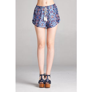 Spicy Mix Women's Valda Printed Mock Tassel Front Shorts
