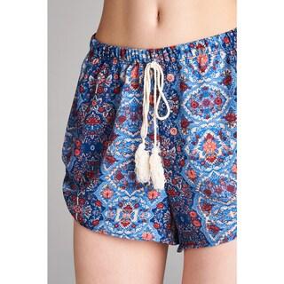 Spicy Mix Women's Valda Printed Mock Tassel Front Shorts