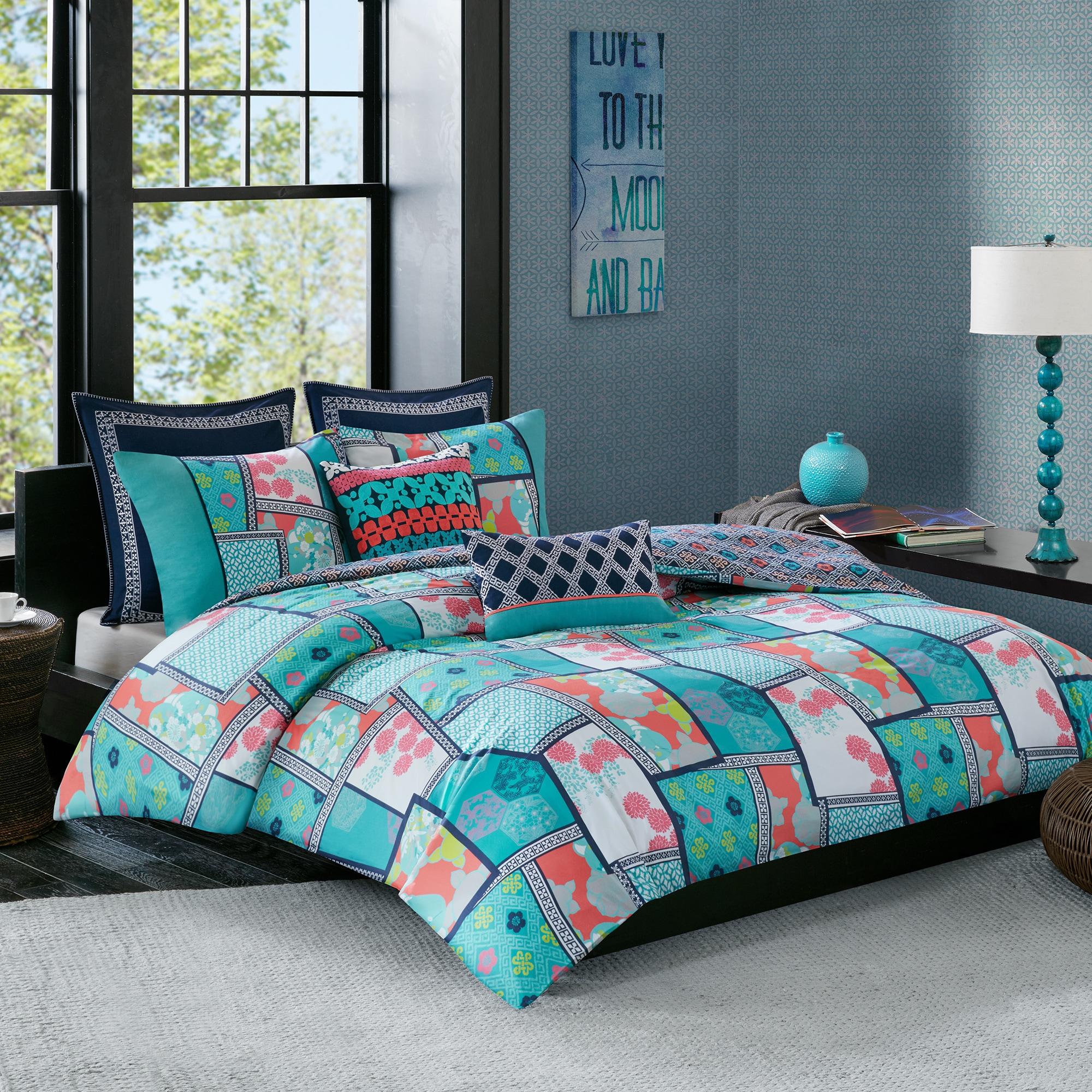 Josie By Natori Mix And Match Multi 250tc Cotton Printed Reversible Comforter 3 Piece Set Overstock 14199632