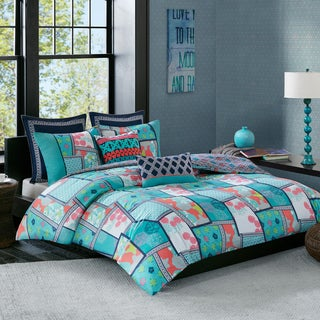 Josie by Natori Mix and Match Multi 250TC Cotton Printed Reversible Duvet Cover Mini Set
