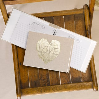 Brush of Love Off-white Linen Guest Book with Goldtone Foil Printing